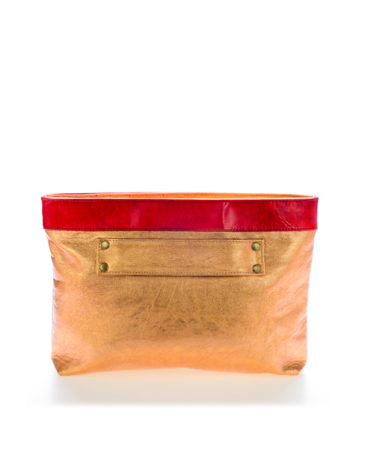 AIL Bags CH2 Vinyls Lacquered Gold Clutch Side
