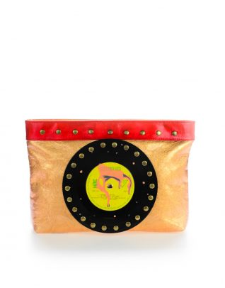 AIL Bags CH2 Vinyls Lacquered Gold Clutch Front