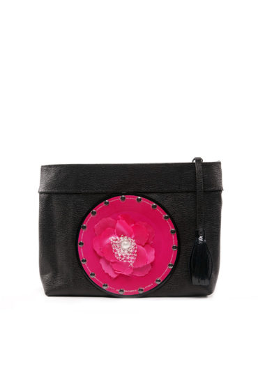 AIL Bags CH2 Vinyls Pink Flower Clutch Front