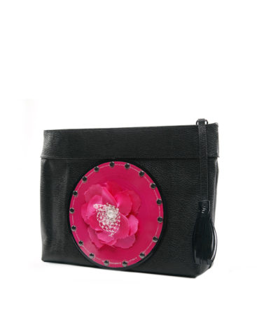 AIL Bags CH2 Vinyls Pink Flower Clutch Side
