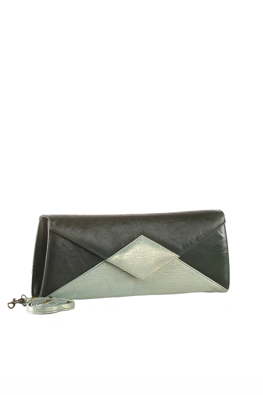 AIL Bags Iconss Green Romb Clutch Side