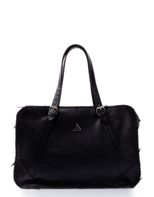 AIL Bags for HIM Black Knitted Weekender Front