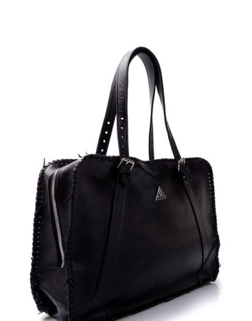 AIL Bags for HIM Black Knitted Weekender Side